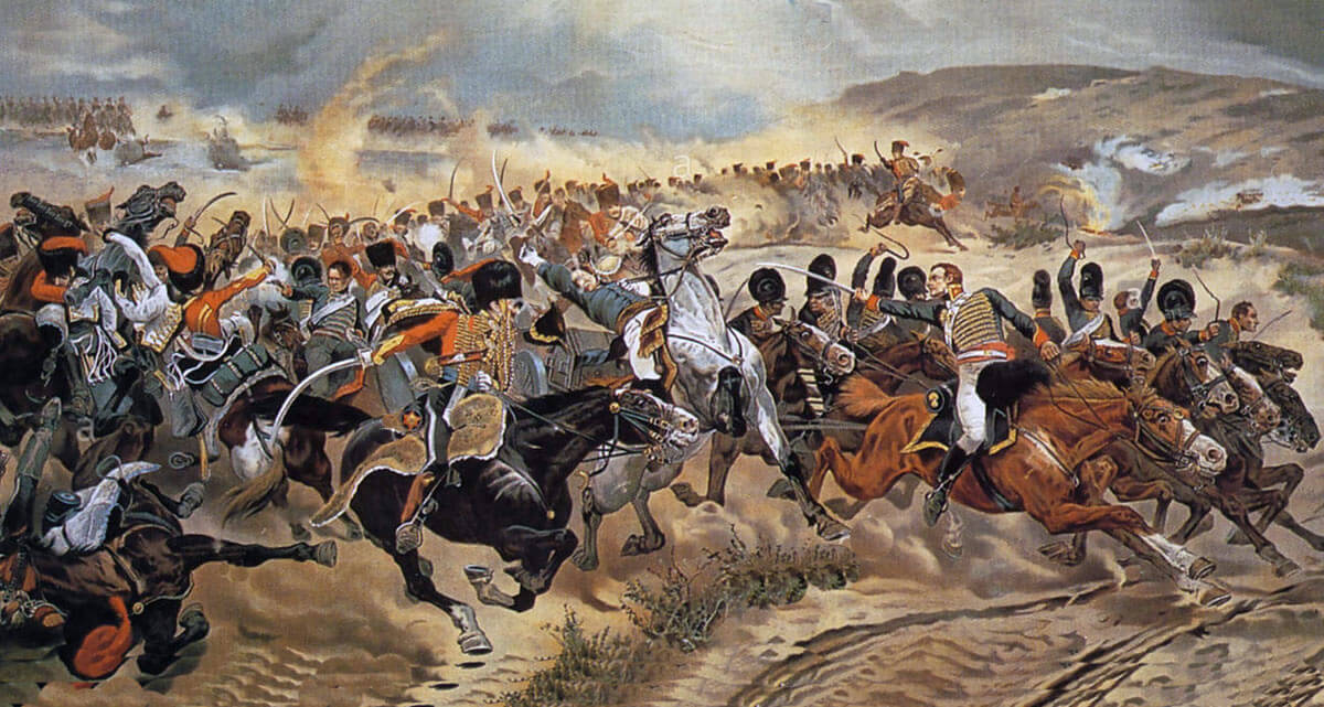 Captain Ramsey leads Bull's Troop through the French Cavalry at the Battle of Fuentes de Oñoro 3rd to 5th May 1811 in the Peninsular War