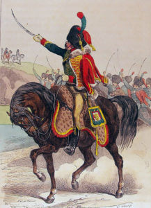 French Hussar of the Imperial Guard: Battle of Fuentes de Oñoro 3rd to 5th May 1811 in the Peninsular War: picture by Hippolyte Belangé