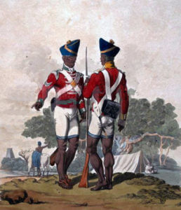 Sepoys of the Madras Army: Battle of Assaye on 23rd September 1803 during the Second Mahratta War in India: picture by Charles Hamilton Smith