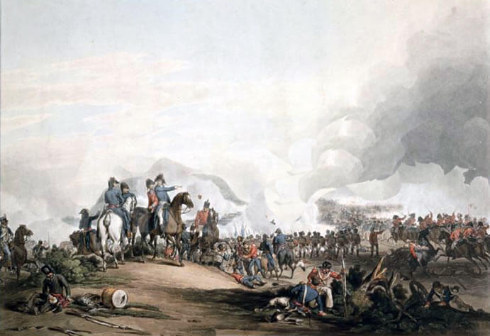 Battle of Salamanca on 22nd July 1812 during the Peninsular War: print by John Atkinson