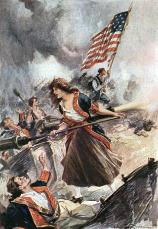 Margaret Corbin at the Battle of Fort Washington on 17th November 1776 in the American Revolutionary War