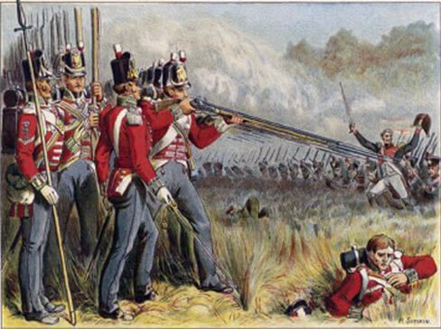 British infantry: Battle of Vitoria on 21st June 1813 during the Peninsular War: picture by Richard Simkin