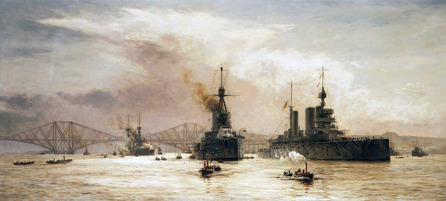 First Battle Cruiser Squadron leaving the Firth of Forth for the Battle of Jutland: picture by Lionel Wyllie