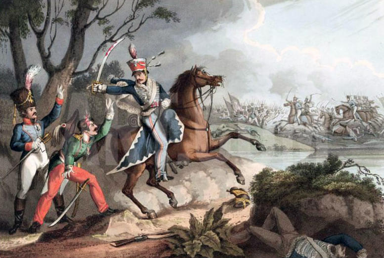 Corporal Logan of 13th Light Dragoons capturing two French Officers: Battle of Albuera on 16th May 1811 in the Peninsular War