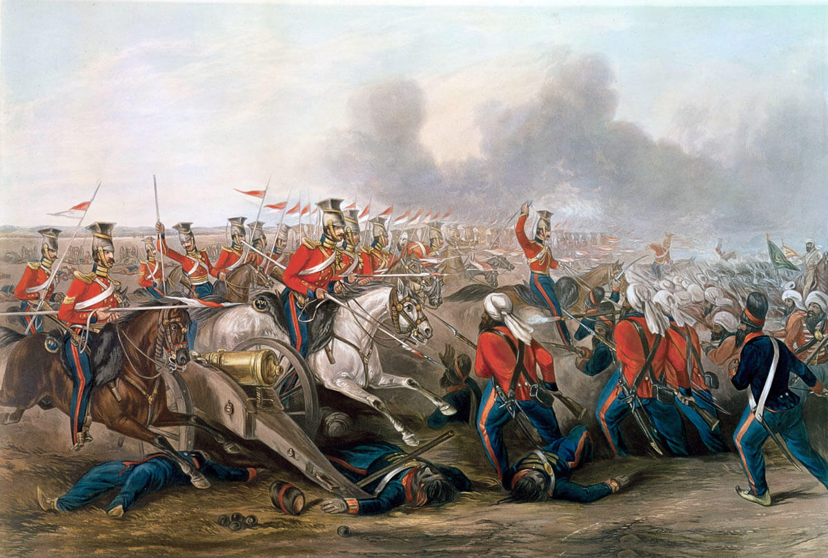 Charge of the 16th Queen's Lancers at the Battle of Aliwal on 28th January 1846 in the First Sikh War