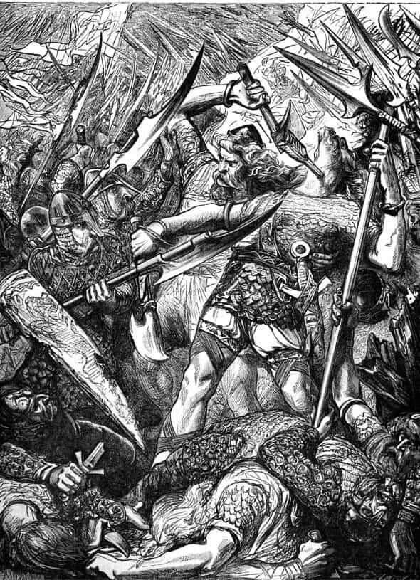 Death of King Harold at the Battle of Hastings on 14th October 1066 in the Norman Invasion: picture by James Cooper