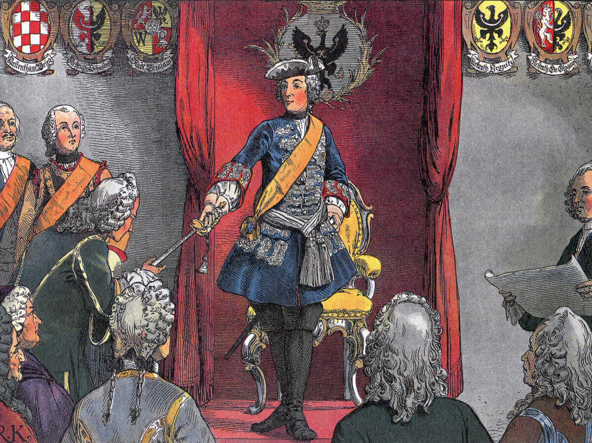 Frederick the Great presenting himself to the city council in Breslau: Battle of Chotusitz 17th May 1742 in the First Silesian War: picture by Carl Röhling
