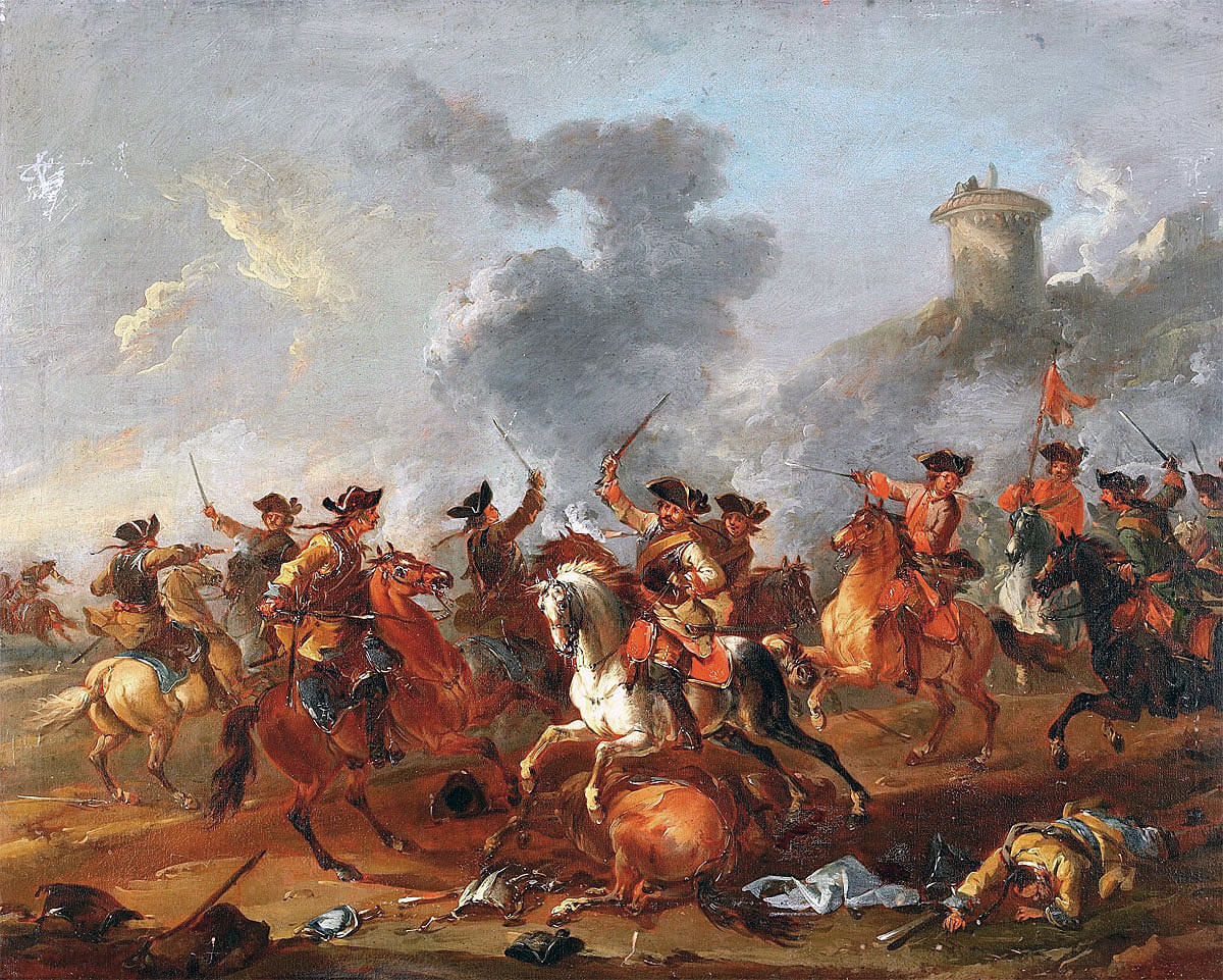 Austrian and Prussian cuirassiers at the Battle of Lobositz on 1st October 1756 in the Seven Years War