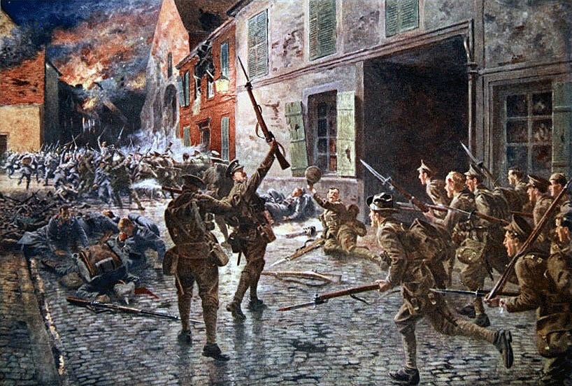 Coldstream Guards at the Battle of Landrecies on 25th August 1914 in the First World War: picture by William Barnes Wollen