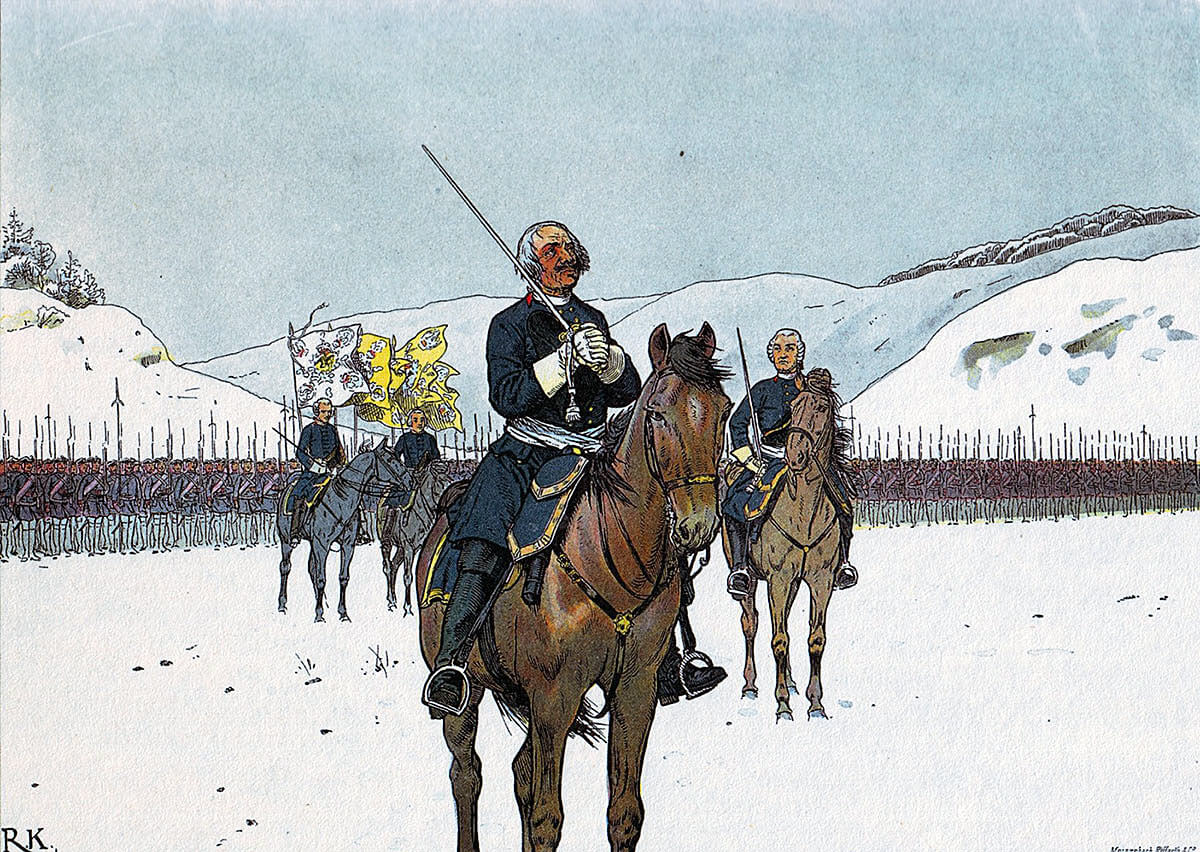 The Old Dessauer praying with his troops before the Battle of Kesselsdorf on 15th December 1747 in the Second Silesian War: picture by Richard Knotel