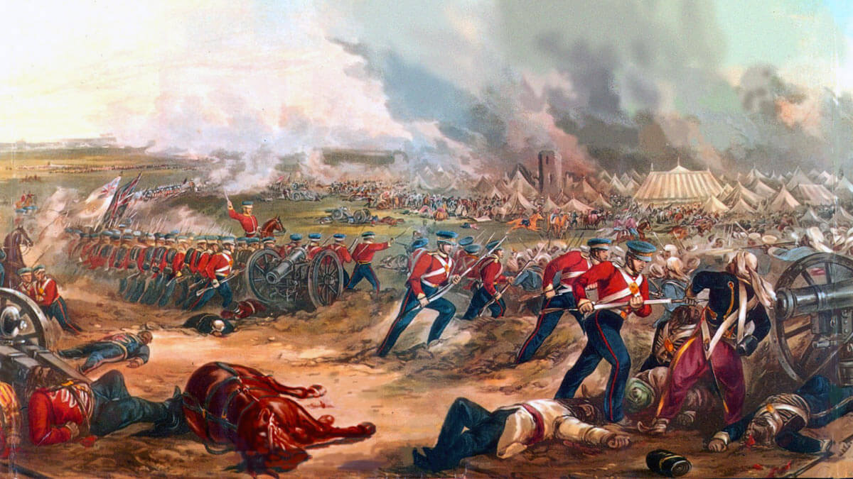 British attack the Sikh Camp at the Battle of Ferozeshah on 22nd December 1845 during the First Sikh War: picture by Maddeley