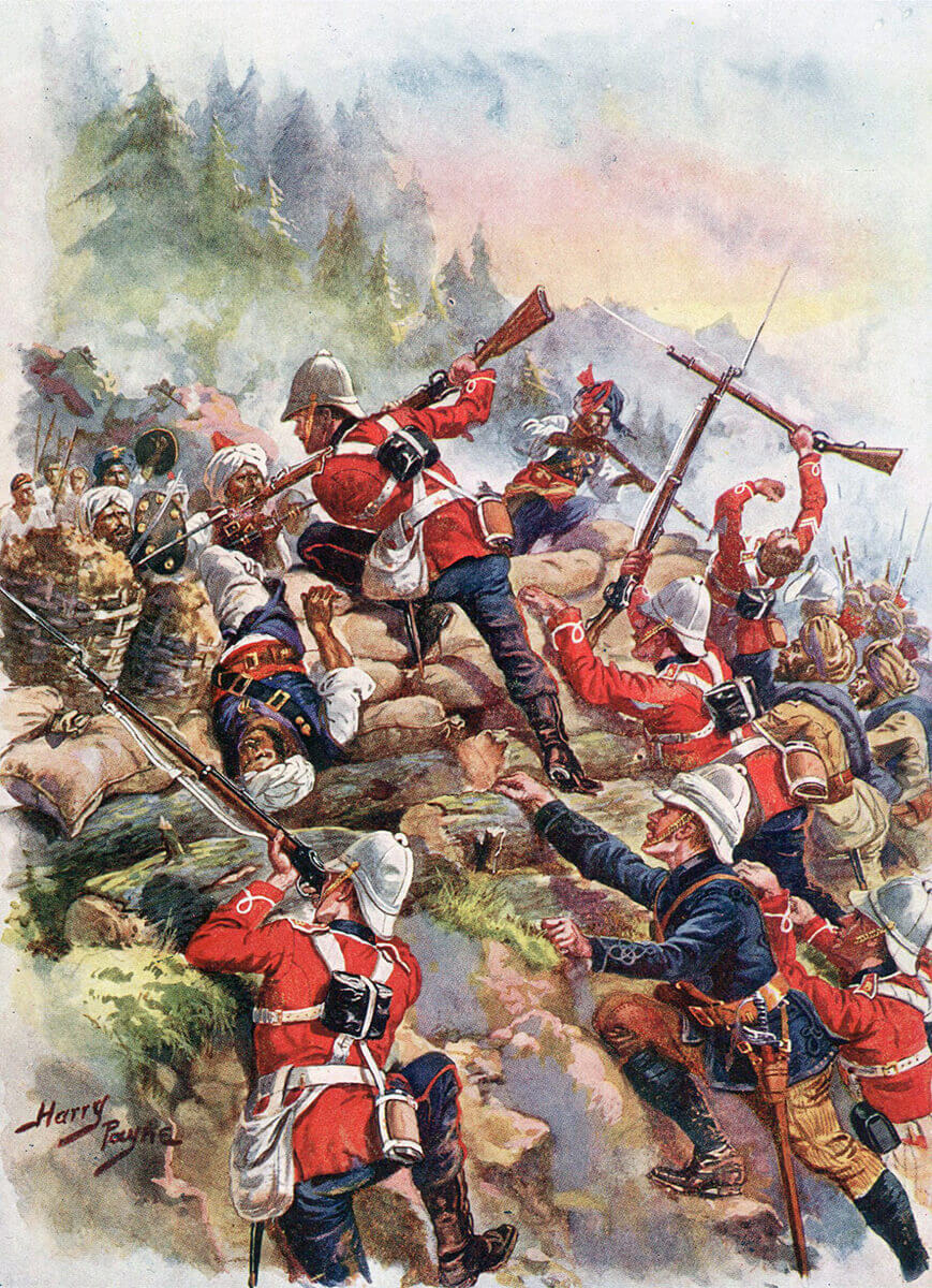 British 8th Regiment storming the Afghan positions at the Battle of Peiwar Kotal on 2nd December 1878 in the Second Afghan War: picture by Harry Payne