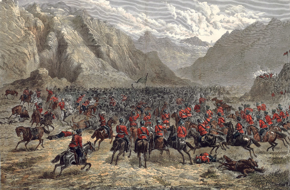 British and Punjab cavalry attacking the Afghans in the Chardeh Valley at the Battle of Kabul in December 1879 during the Second Afghan War
