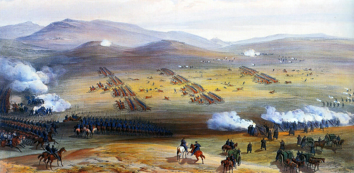 Charge of the Light Brigade at the Battle of Balaclava on 25th October 1854 in the Crimean War: picture by Simpson