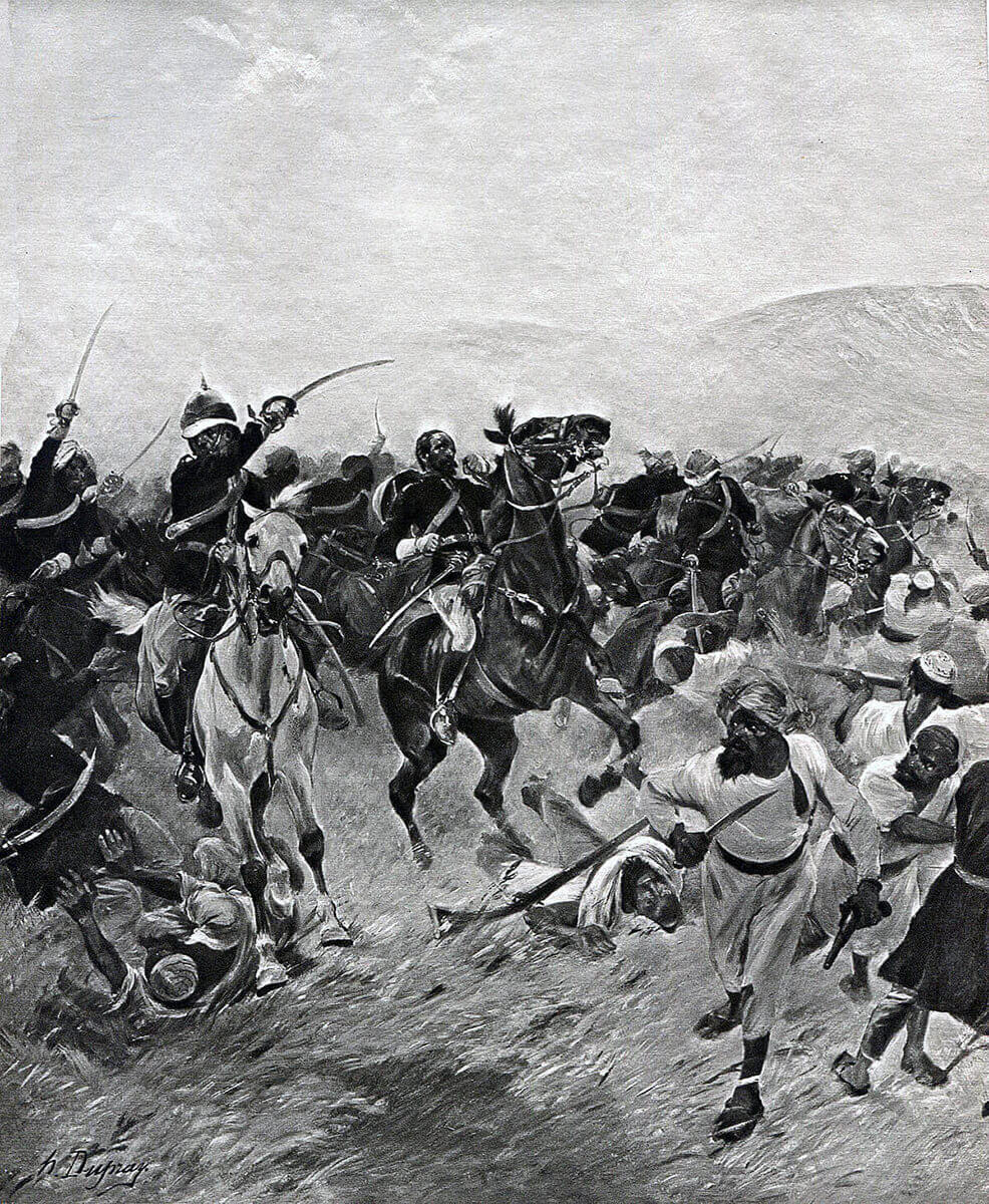Death of Major Wigram Battye of the Queen's Own Corps of Guides at the Battle of Futtehabad on 2nd April 1879 in the Second Afghan War: picture by Henri Dupray