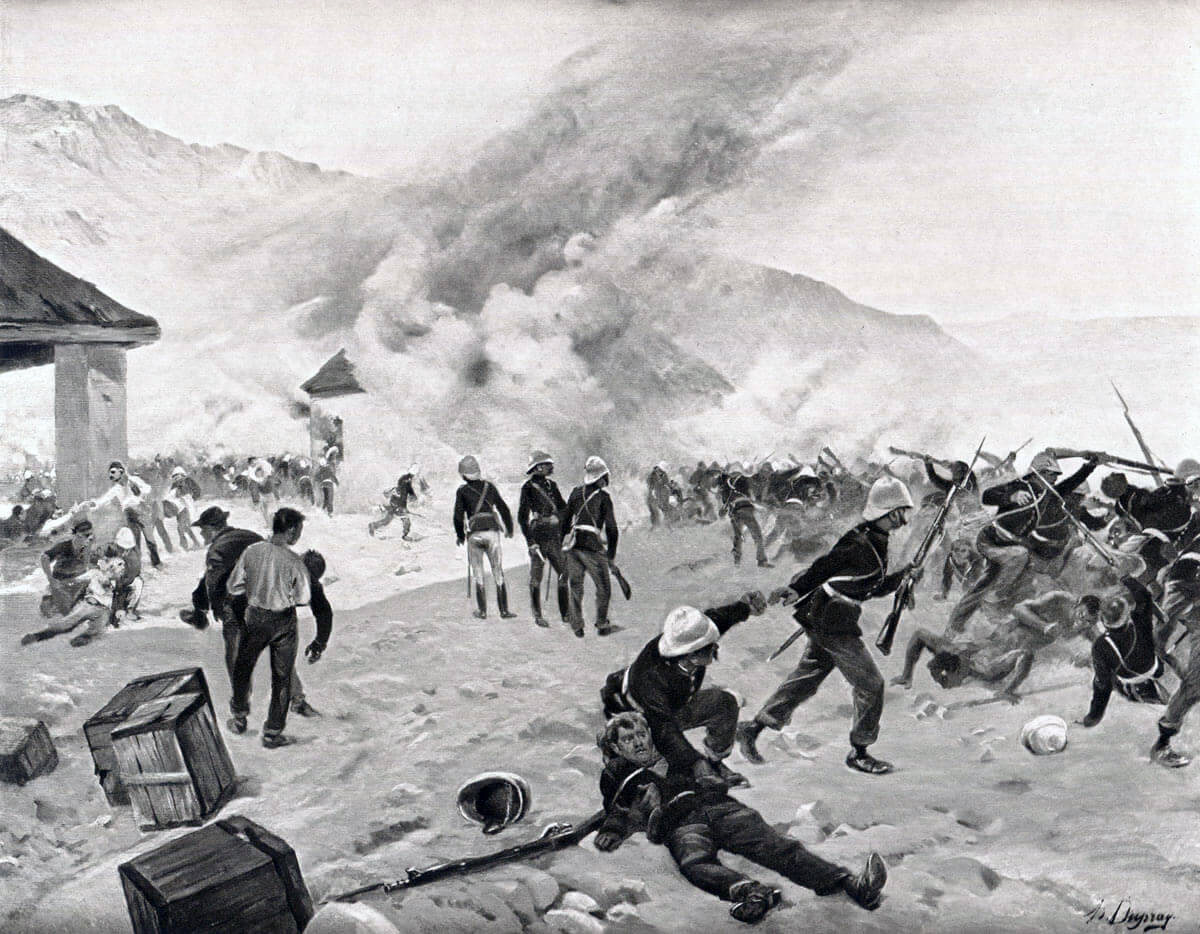 Defence of Rorke's Drift on 22nd January 1879 in the Zulu War: picture by Henri Dupray