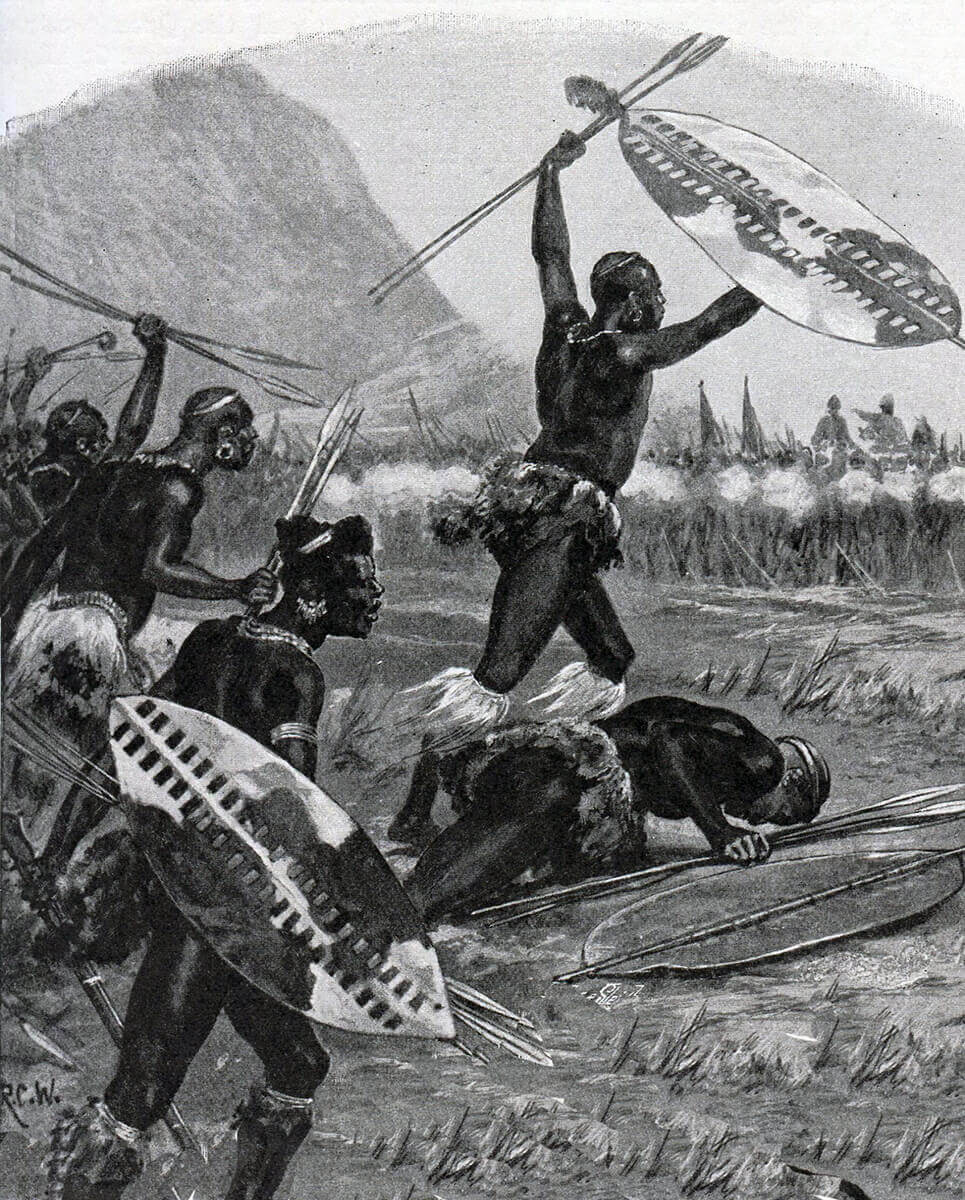 Zulu attack at the Battle of Isandlwana on 22nd January 1879 in the Zulu War: picture by Richard Caton Woodville