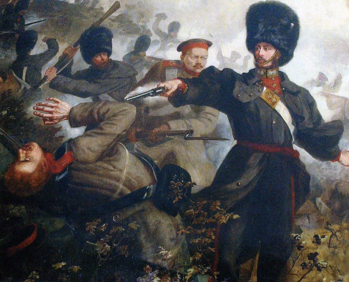 Lieutenant Russell and Private Palmer of the Grenadier Guards winning Victoria Crosses at the Battle of Inkerman on 5th November 1854 during the Crimean War: picture by Louis Desanges