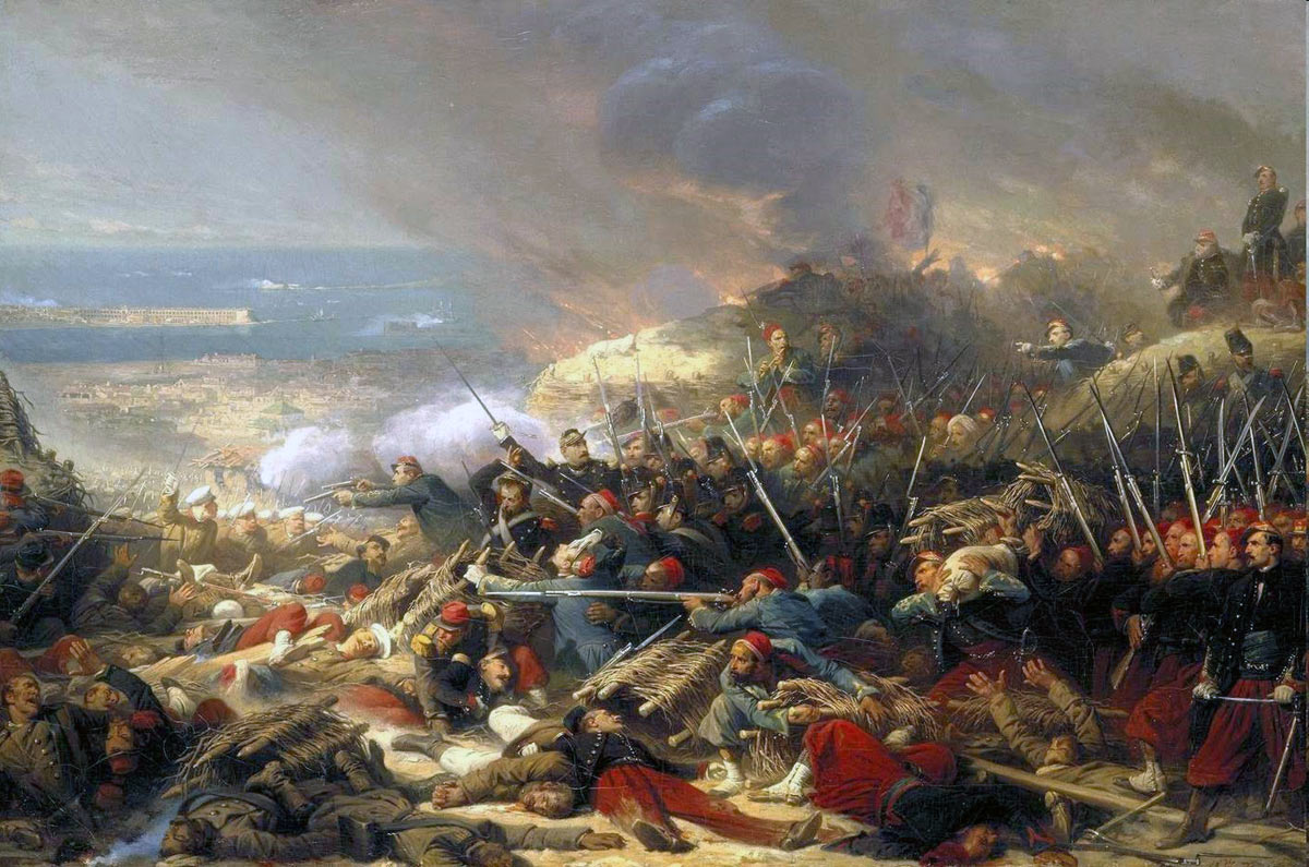 French troops storming the Malakhov on 8th September 1855: Siege of Sevastopol September 1854 to September 1855