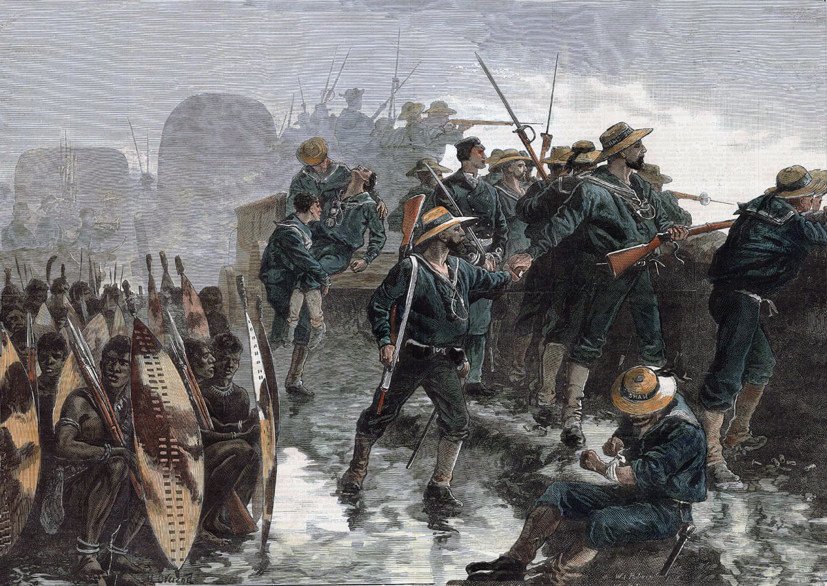Royal Navy sailors in the British square at the Battle of Gingindlovu on 2nd April 1879 in the Zulu War
