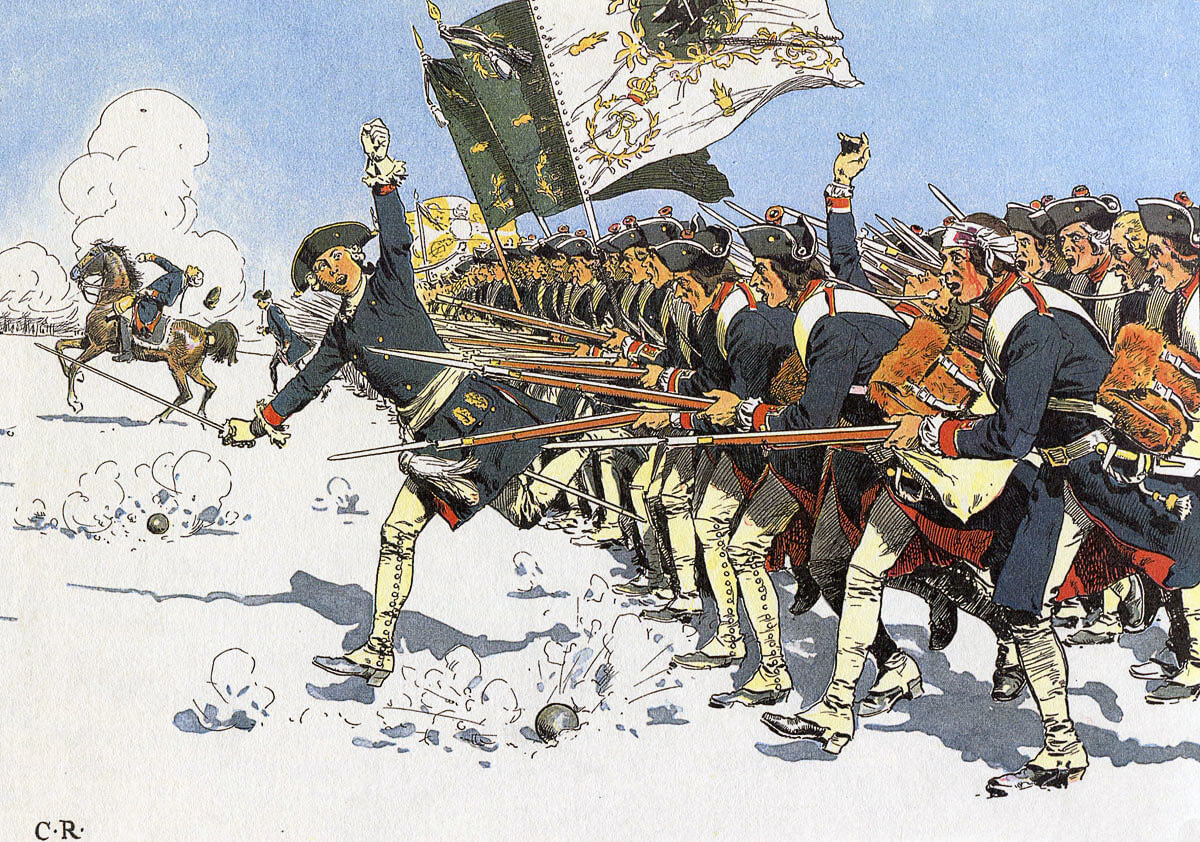 Prussian infantry assault at the Battle of Mollwitz on 10th April 1741 in the First Silesian War: picture by Carl Röchling