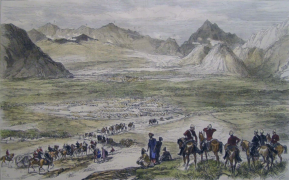 View of the Battle of Charasiab on 9th October 1879 in the Second Afghan War: the River Logar is beyond the mountains on the right
