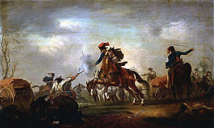 General Nadasty's Hungarian Hussars attacking the Prussian camp during the Battle of Soor 30th September 1745 in the Second Silesian War: picture by David Morier