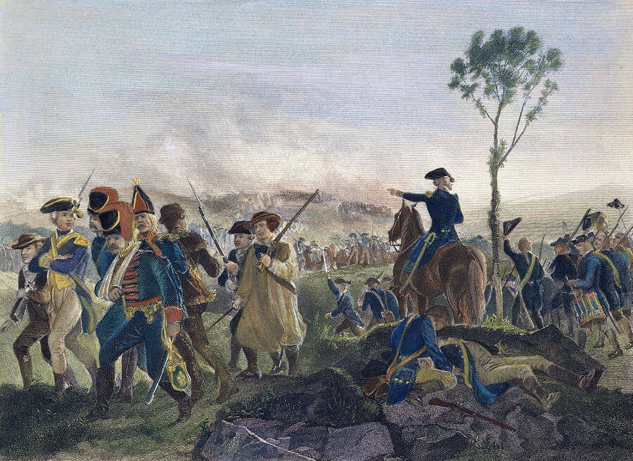 German prisoners pass the attacking American column at the Battle of Bennington on 16th August 1777 in the American Revolutionary War: picture by Charles Henry Granger