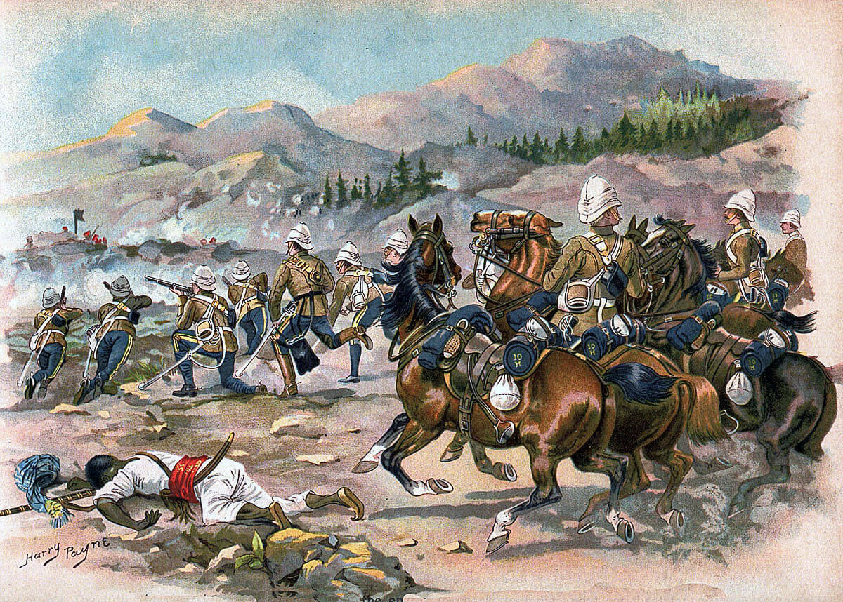 HM 10th Royal Hussars at the Battle of Futtehabad on 2nd April 1879 in the Second Afghan War: picture by Harry Payne