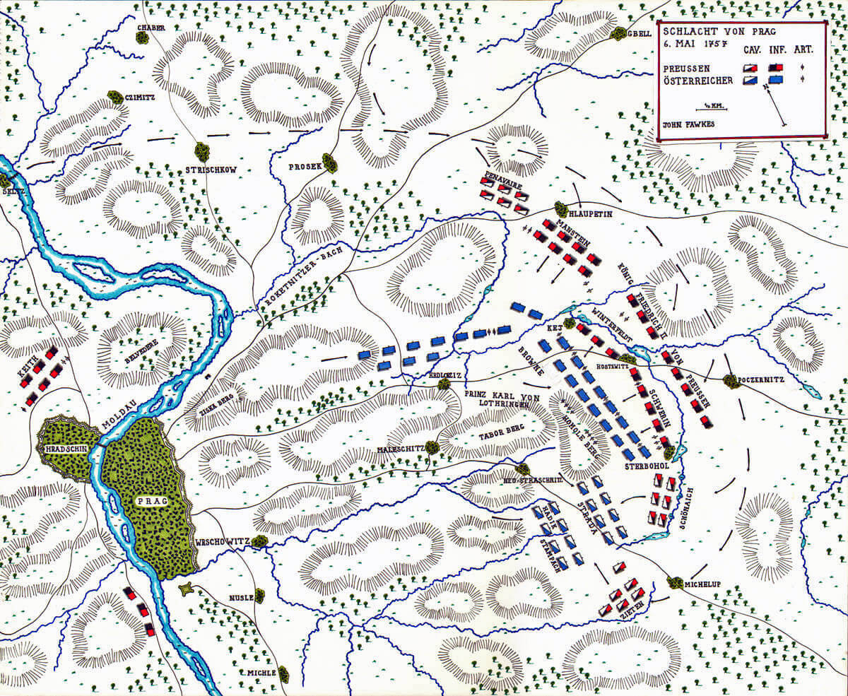 Map of the Battle of Prague 6th May 1757 in the Seven Years War: map by John Fawkes