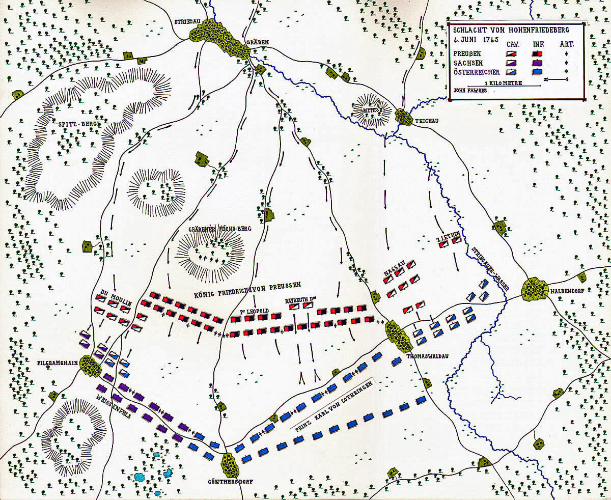 Map of the Battle of Hohenfriedberg 4th June 1745 in the Second Silesian War: map by John Fawkes