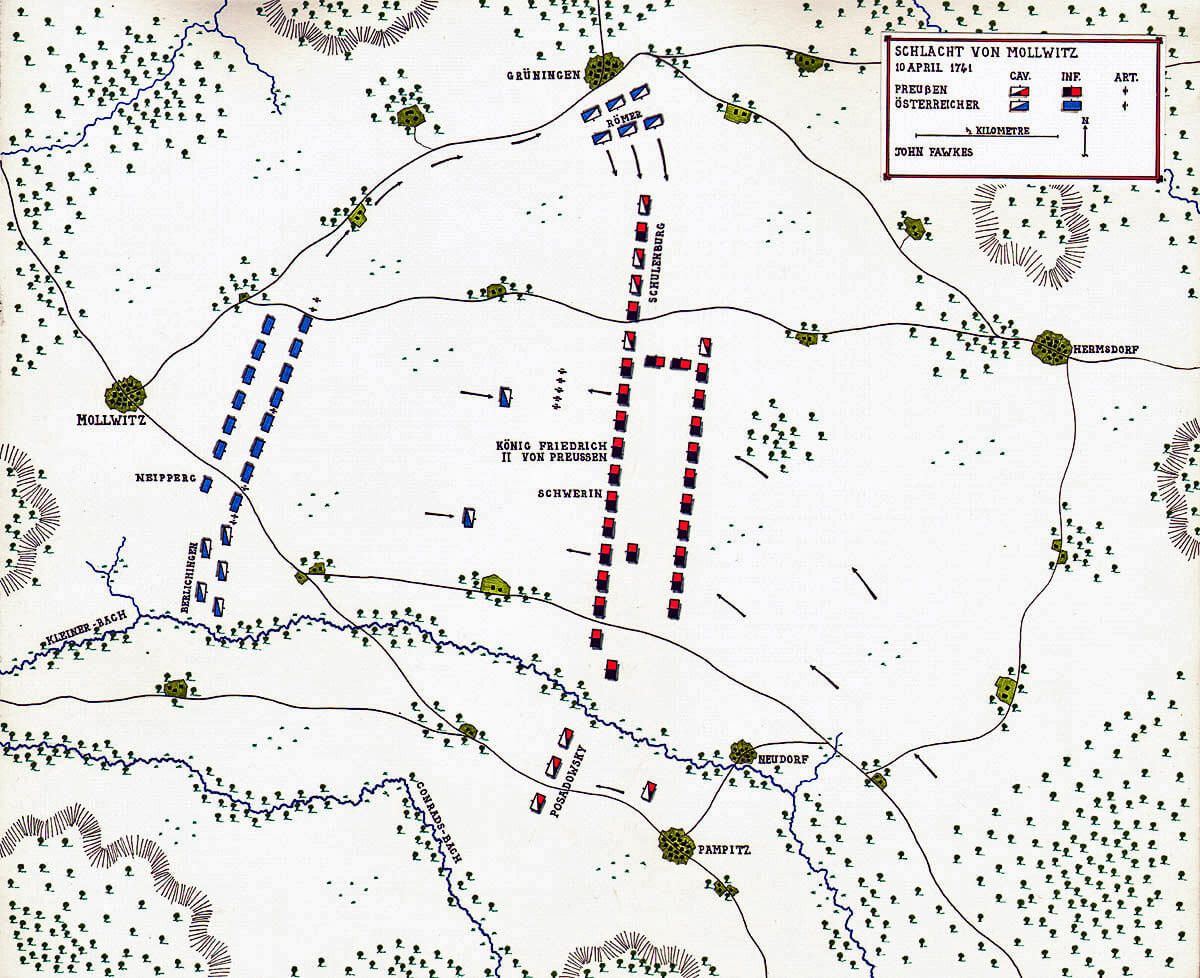 Map of the Battle of Mollwitz fought on 10th April 1745 in the First Silesian War: map by John Fawkes