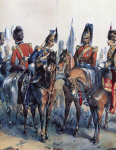 British cavalry in the Crimea: Battle of Balaclava on 25th October 1854 in the Crimean War: picture by Orlando Norie