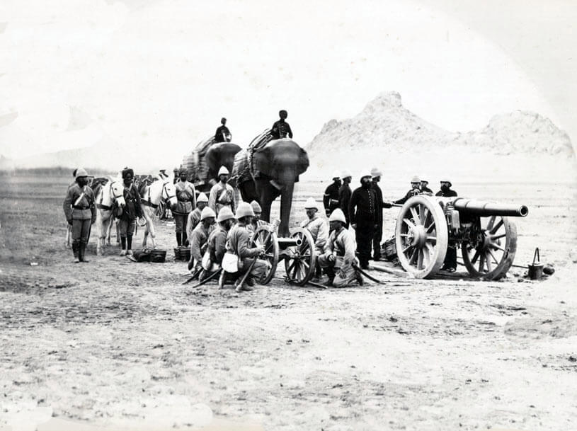 British Royal Artillery Elephant Battery with RBL 40 pounder Armstrong Gun and Mountain Battery with RML 7 Pounder gun: Battle of Ali Masjid on 21st November 1878 in the Second Afghan War
