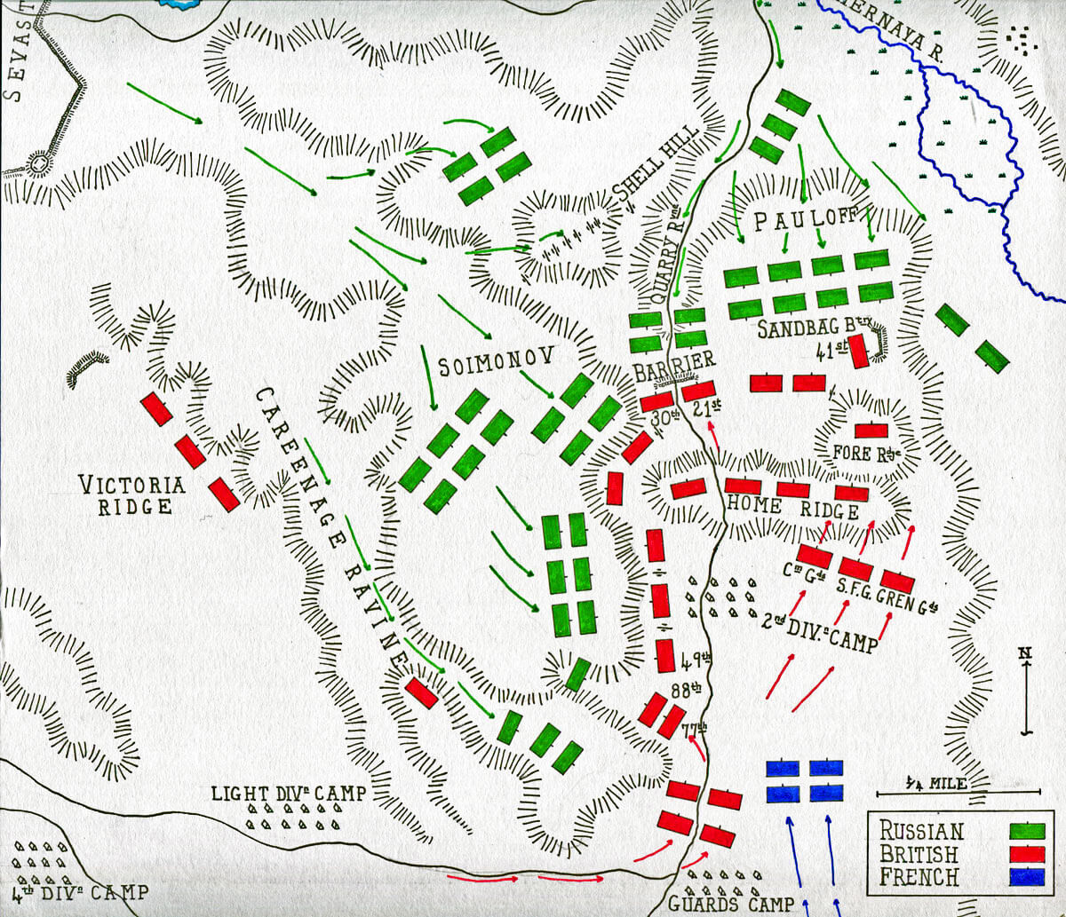 Map of the Battle of Inkerman on 5th November 1854 in the Crimean War: map by John Fawkes