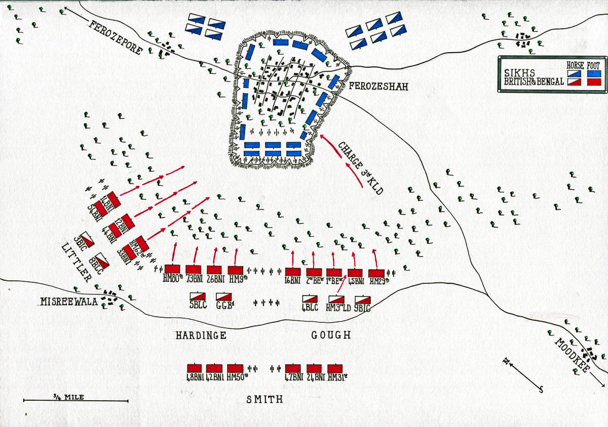 Map of the Battle of Ferozeshah on 22nd December 1845 during the First Sikh War: map by John Fawkes