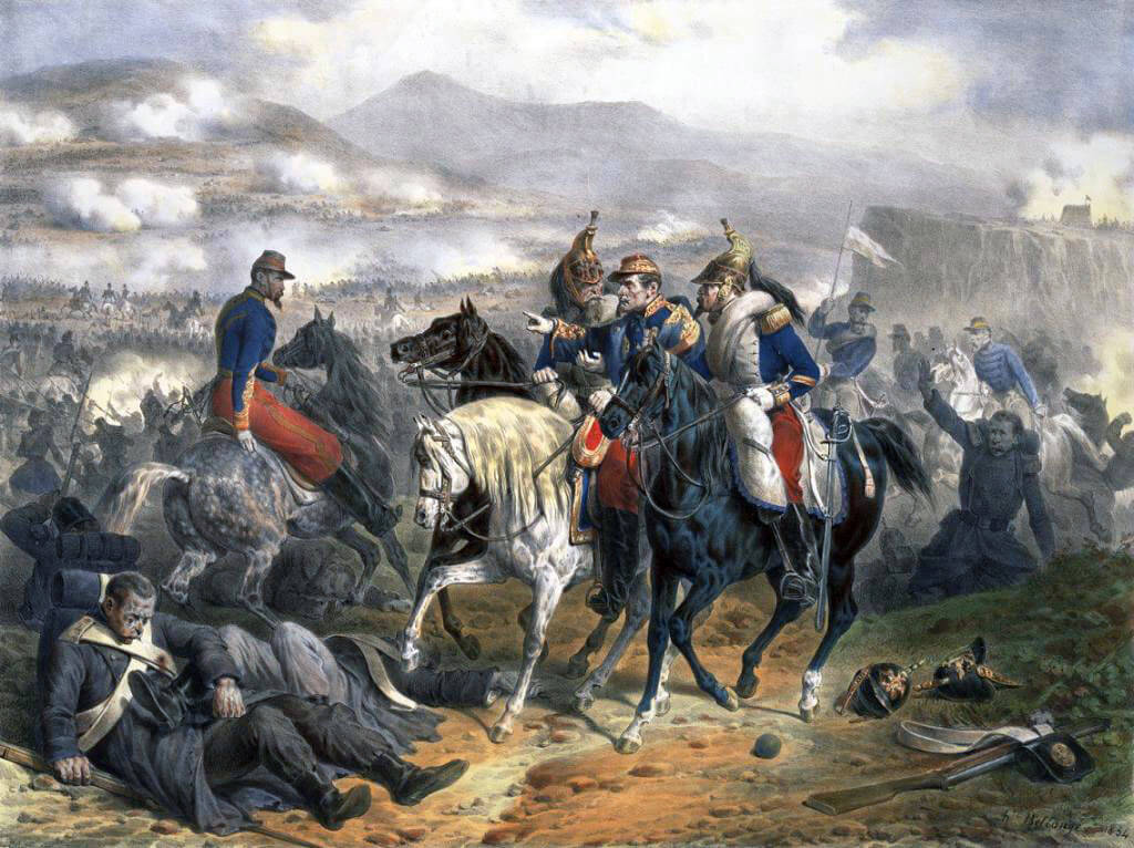 Marshal Saint-Arnaud at the Battle of the Alma on 20th September 1854 during the Crimean War: Saint-Arnaud was near to death from illness: picture by Belangé
