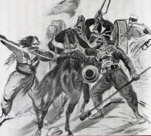 Captain Codd of 3rd King's Own Light Dragoons cut to pieces by Sikhs at the Battle of Moodkee on 18th December 1845 during the First Sikh War