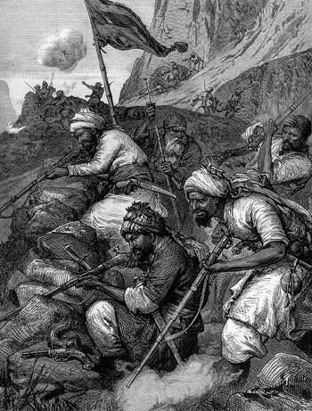 Afghan tribesmen: Battle of Peiwar Kotal on 2nd December 1878 in the Second Afghan War