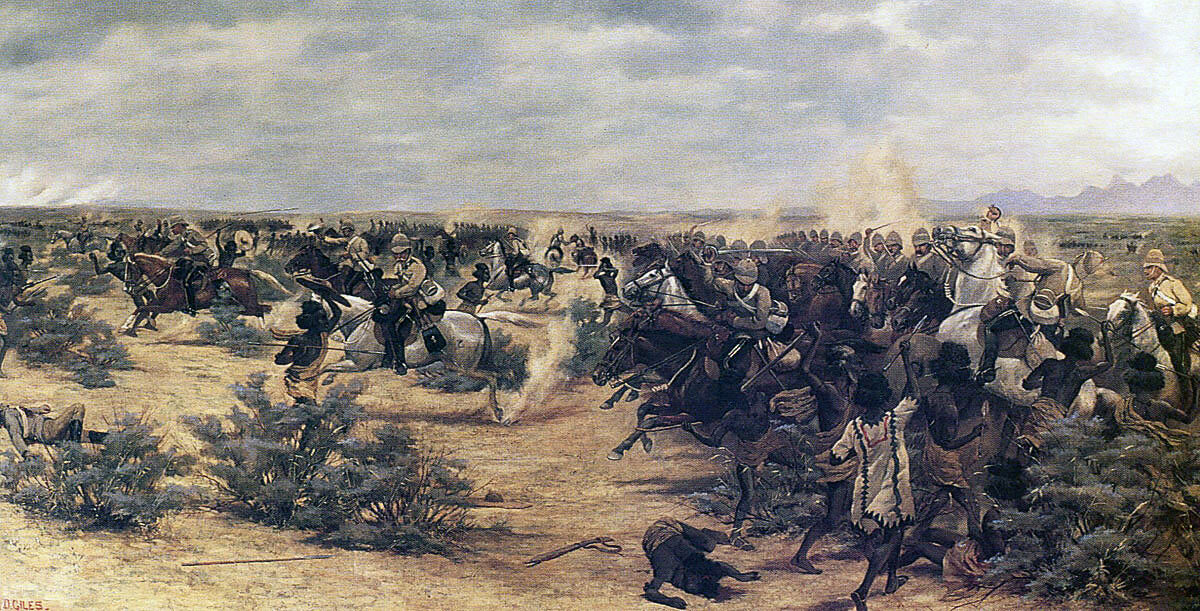 10th Hussars charging at the Battle of El Teb on 29th February 1884 in the Sudanese War: picture by Major GD Giles
