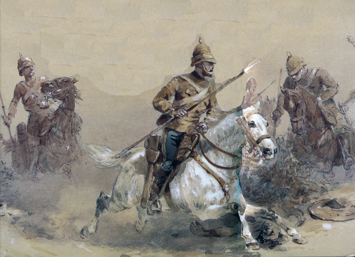 10th Hussars charging with native spears: Battle of Tamai on 13th March 1884 in the Sudanese War: picture by Orlando Norie