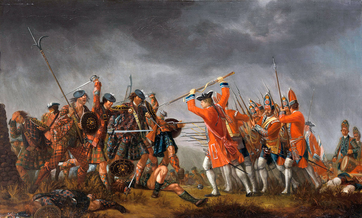 Highland charge on Barrell's Regiment: Battle of Culloden 16th April 1746 in the Jacobite Rebellion: painted by David Morier using Highland prisoners as models