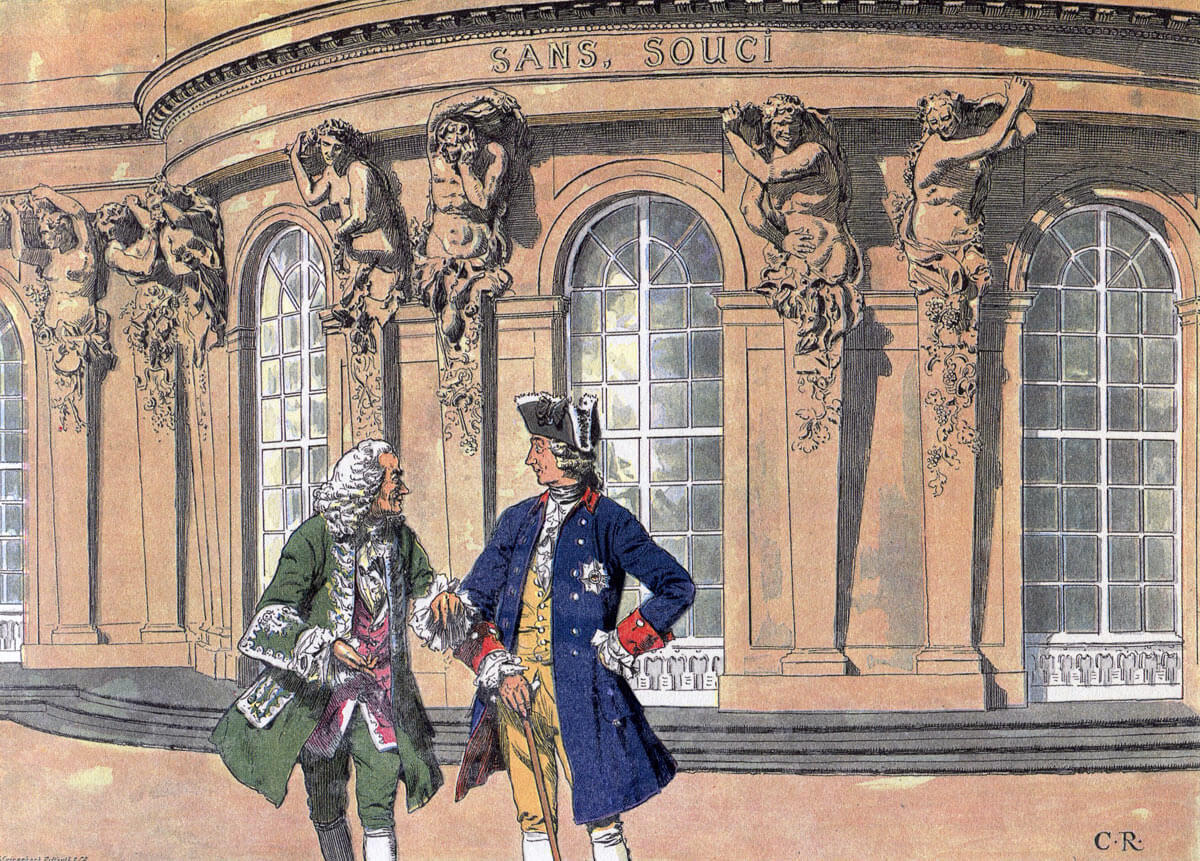 Frederick the Great with the French Philosopher Voltaire at Sans Souci: Battle of Chotusitz 17th May 1742 in the First Silesian War: picture by Carl Röchling