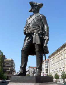 Statue in Berlin of General Karl von Winterfeldt, Prussian commander killed at the Battle of Prague 6th May 1757 in the Seven Years War