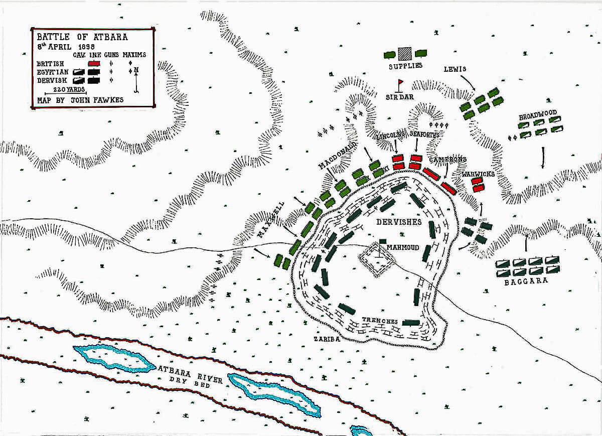 Map of the Battle of Atbara on 8th April 1898 in the Sudanese War: map by John Fawkes