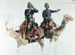 Camel Corps: Battle of Abu Klea on 17th January 1885 in the Sudanese War: picture by Orlando Norie
