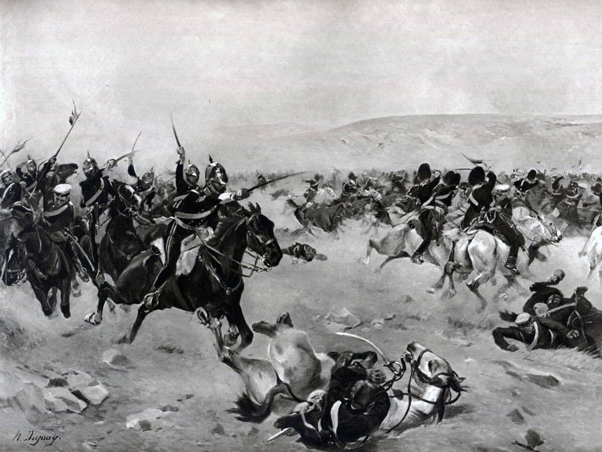 Charge of the Heavy Brigade at the Battle of Balaclava on 25th October 1854 in the Crimean War: picture by Henri Dupray