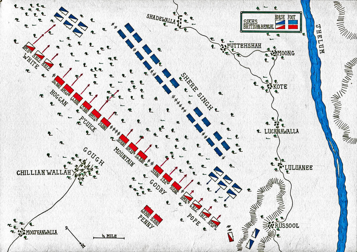 Map of the Battle of Chillianwallah on 13th January 1849 during the Second Sikh War: map by John Fawkes