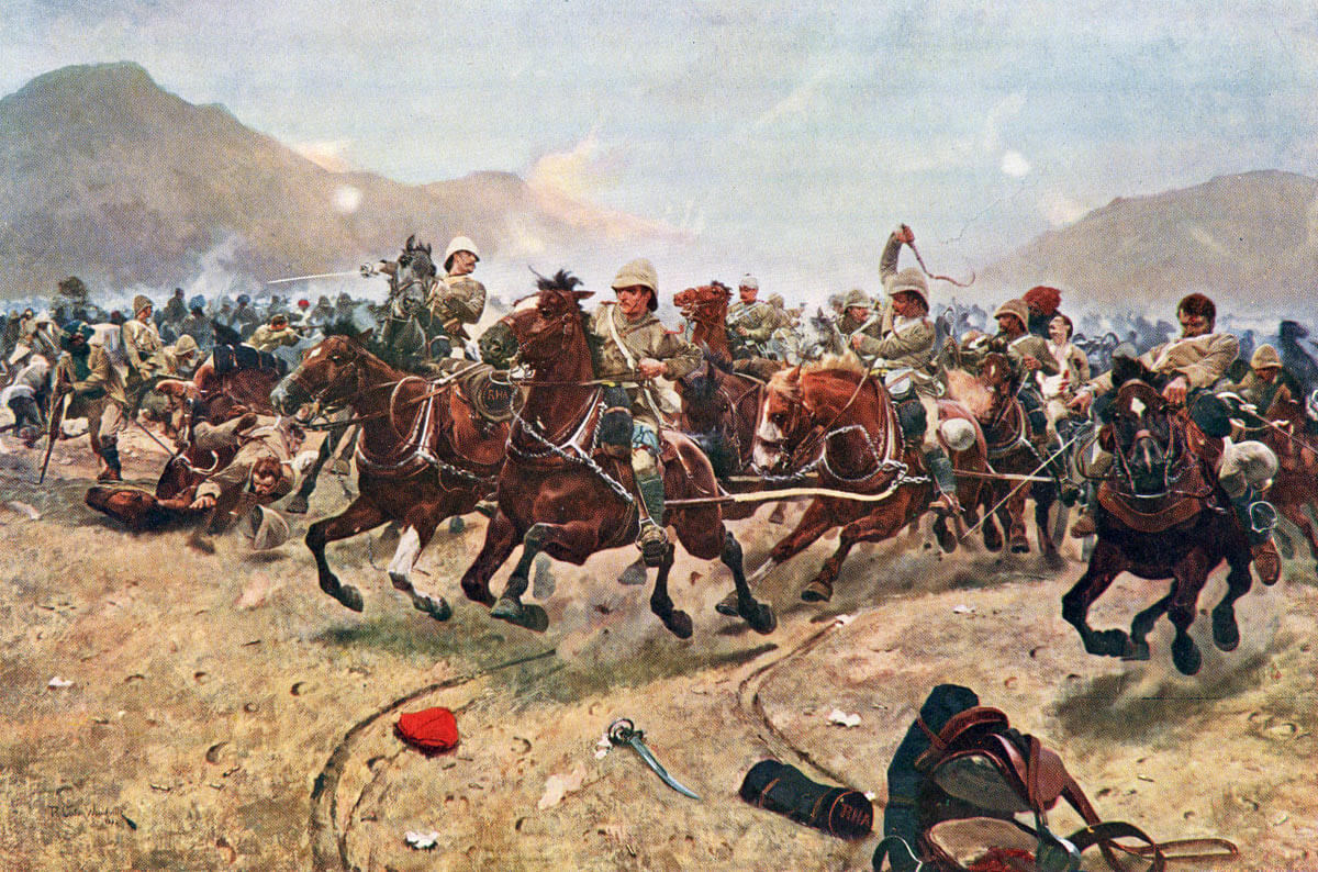 Saving the guns: E/B Battery Royal Horse Artillery at the Battle of Maiwand on 26th July 1880 in the Second Afghan War: picture by Richard Caton Woodville