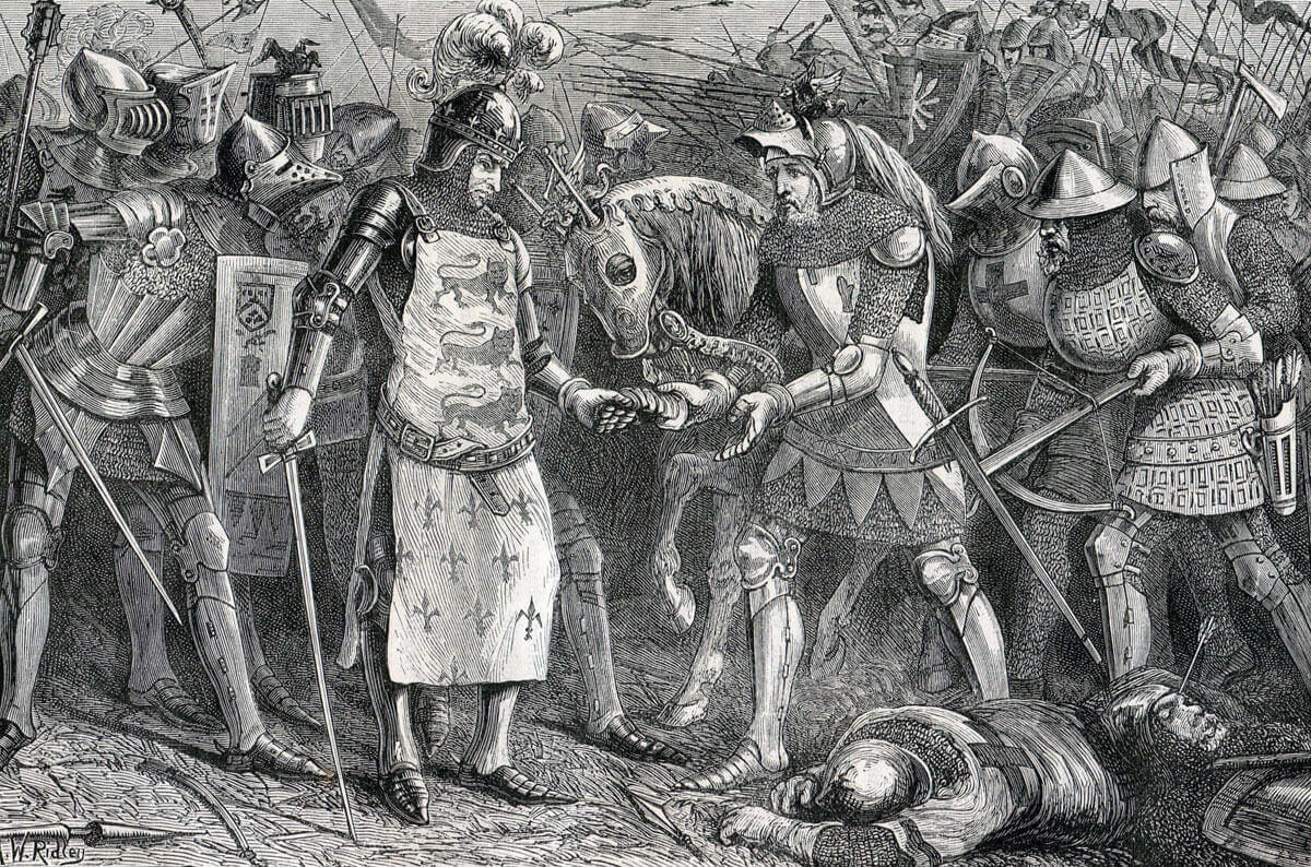 Capture of King John of France at the Battle of Poitiers on 19th September 1356 in the Hundred Years: picture by AW Ridley